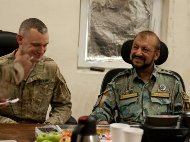 In a regional first, U.S. Army intelligence officers met face-to-face with their Afghan National Security Forces counterparts at the Afghan Border Police Zone 1 compound in Jalalabad, Nangarhar province
