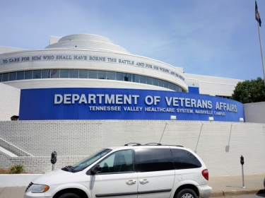 Nashville, Tennessee, USA - August 9, 2015: Department of Veterans Affairs, Tennessee Valley Healthcare System, Nashville Campus sign on building in Nashville, Tennessee. Image taken on 24th Avenue South in Nashville.