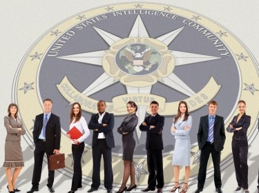 Young people stand in front of the U.S. Intelligence Community seal