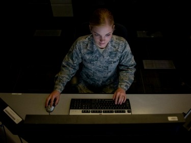 A senior airman who led a target analysis team that located and relayed the positions of more than 4,300 compounds to coalition forces at a workstation