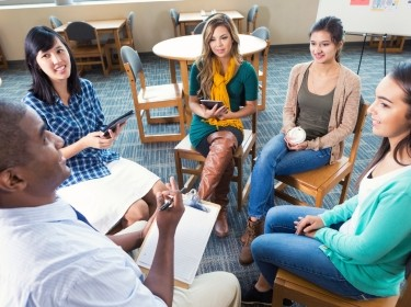 College students in a group therapy session