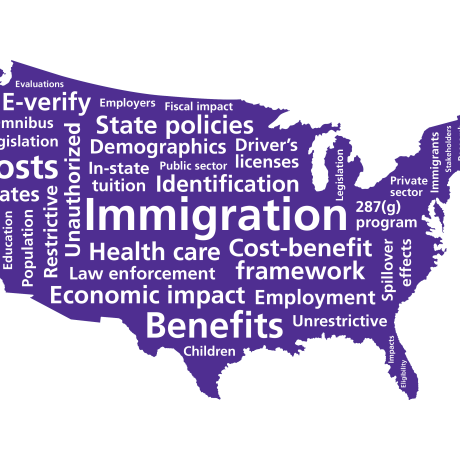 United States immigration map, illustration by Eileen LaRusso/RAND Corporation