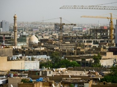 Construction cranes in the city of Erbil in Kurdistan - Iraq
