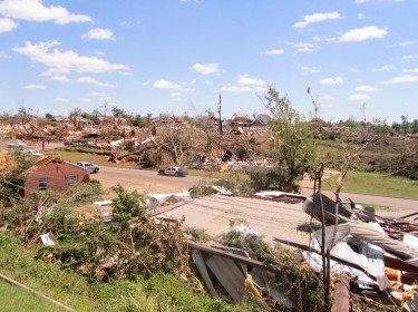 Damage of a devastating tornado in Tuscaloosa, AL