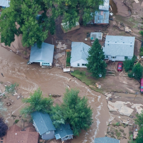 An aerial photo of a flood-affected area of northern Colorado along the Big Thompson River which has been declared a federal disaster area in September 2013, photo by Capt. Darin Overstreet/U.S. Air National Guard/Handout via Reuters