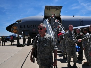 Airmen along with KC-135 Stratotanker jets return home to Pennsylvania July 2, 2010, from an overseas deployment in support of Operation Enduring Freedom