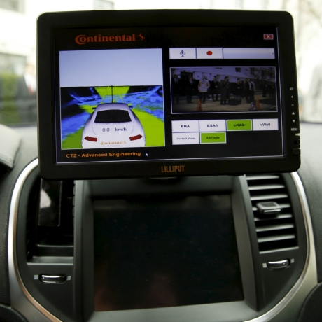 The computer screen in an autonomous prototype Continental Chrysler 300C sedan at an event featuring numerous self-driving cars on Capitol Hill, March 15, 2016, photo by Gary Cameron/Reuters