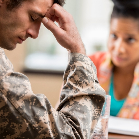 Depressed veteran meets with psychologist, photo by Steve Debenport