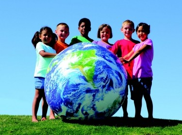 Children with earth ball