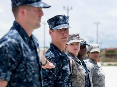 Airman Leadership School students participate in a drill exercise