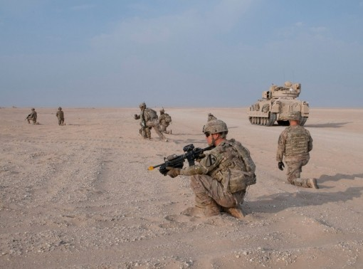 U.S. Army soldiers in an exercise on Udari Range Complex near Camp Buehring, Kuwait, that better prepares them to certify for future deployments, November 2017