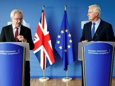 David Davis, Britain's Secretary of State for Exiting the EU (left), and Michel Barnier, the EU's chief Brexit negotiator, talk to the media ahead of negotiations in Brussels, Belgium, September 25, 2017