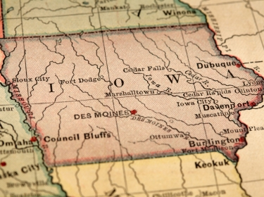 Close up of the state of Iowa on an antique-looking map