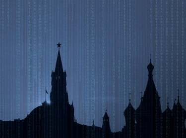 A dark Russian sky with a binary code background