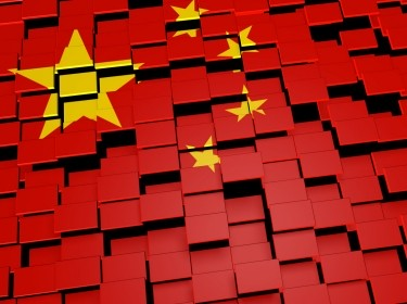 China's flag made over digital tiles