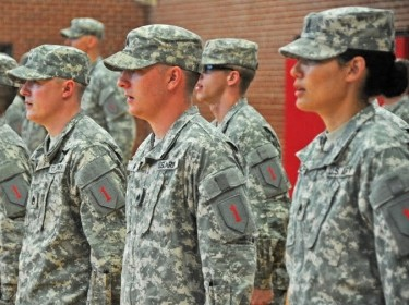Soldiers of the 1st Infantry Division's Main Command Post-Operational Detachment stand in formation during the unit's activation ceremony, photo by U.S. Army