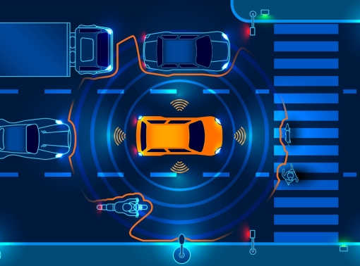 An autonomous car scans the road and stops at a crosswalk