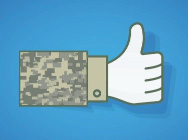 A Facebook like icon with a camouflage sleeve, image by Ben Sherman/army.mil