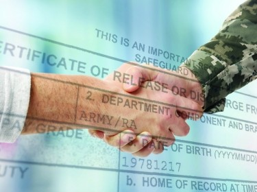 Soldier and civilian shaking hands on white background, photo by Adobe Stock/Africa Studio and U.S. Army/Jim Goodwin