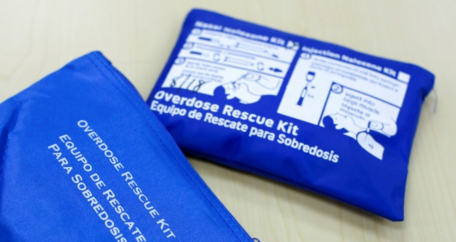 Overdose rescue kits on a table during an Opioid Overdose Prevention Training class provided by Lourdes Hospital in Binghamton, New York, April 5, 2018