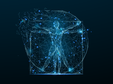 Classic proportion man in the form of a starry sky or space, consisting of point, line, photo by Adobe Stock/anttoniart