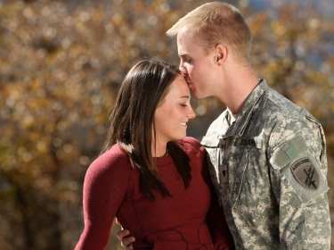 young soldier with wife