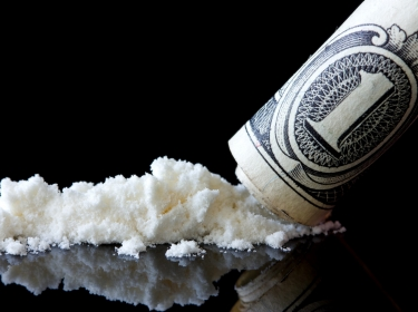 cocaine and dollar bill