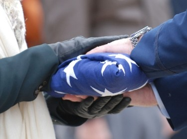 Folded American flag for a military funeral ceremony