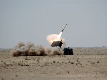 A precision-guided missile was fired during its first test-fire outside of the United States, near Tikrit, Iraq