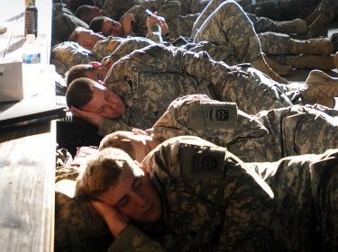 Paratroopers napping