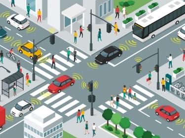 Illustration of smart transportation, people and vehicles moving in city streets using sensors, photo by elenabsl/Adobe Stock