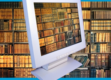 Computer screen library books