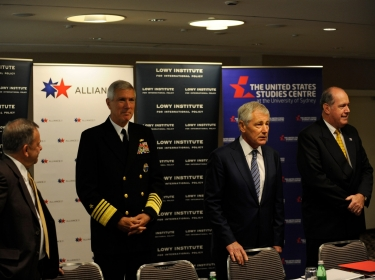 Commander of U.S. Pacific Command Adm. Samuel J. Locklear, left, U.S. Secretary of Defense Chuck Hagel, and Australian Defense Minister David Johnson discuss Indo-Pacific security cooperation during a roundtable discussion with military leaders as part of the annual Australia-United States Ministerial Consultations (AUSMIN)