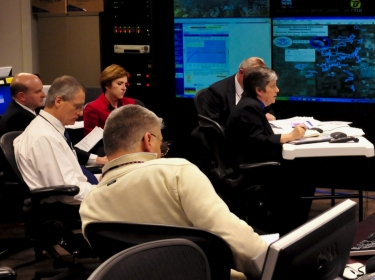 Secretary Napolitano monitors the flooding in North Dakota at the National Operations Center