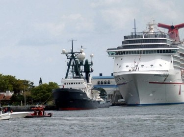 A Station Ft. Lauderdale crew detains an unknown vessel during an excercise that tested new communication and tracking technologies in the Port Everglades