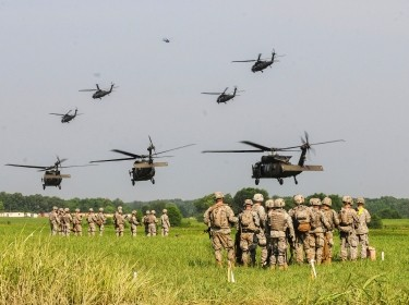 Soldiers with 1st Brigade Combat Team, 101st Airborne Division, conducted a brigade-size air assault during Operation Dark Eagle, June 23, 2014