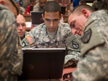 U.S. Army soldiers take part in a multi-service exercise on cyber capabilities at Ford Gordon in Augusta, Georgia, June 10, 2014