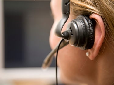 Close up of a woman in a call center