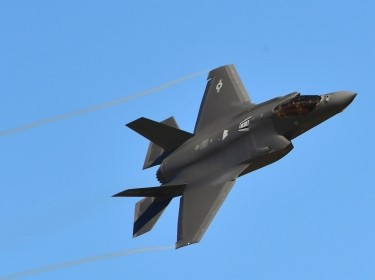An F-35A Lightning II flies over Hill Air Force Base, Utah