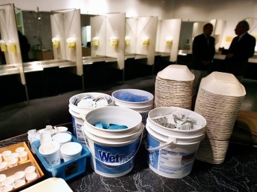 Supplies including syringes and antiseptic pads inside a safe injection site known as Insite in Vancouver, British Columbia, August 23, 2006