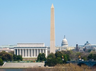 Washington monument with the White House in the background