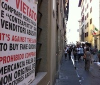 Italian sign forbidding purchase of counterfeit goods