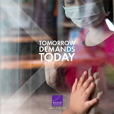 RAND 2020 Annual Report cover showing a woman in a mask behind a window